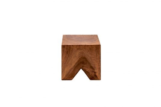 Picture of square side table/stool with oiled wood finishing