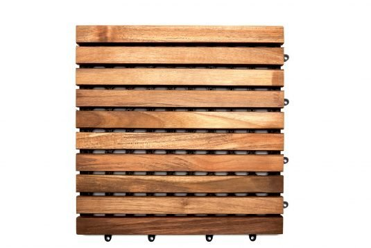 Picture of teak garden tile with pvc baking system with fine sanded wood finishing