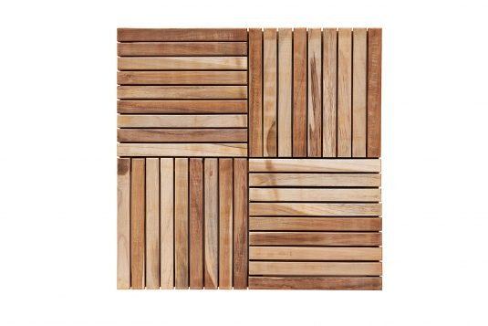 Picture of teak garden tile with fine sanded wood finishing