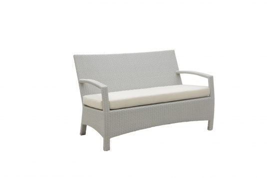 Picture of sofa with white wash rattan from side