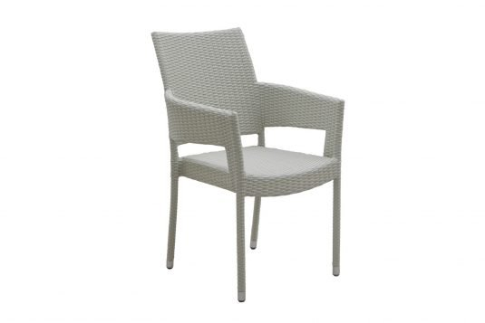 Picture of stackable dining armchair white wash rattan from side