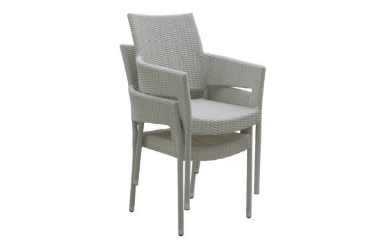 Picture of stackable dining armchair with white wash rattan