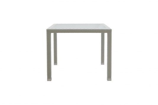Picture of square dining table with frosted glass table top