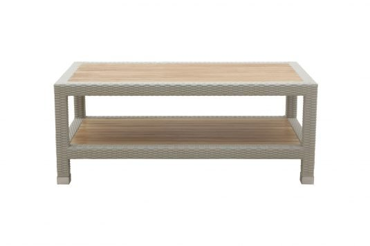 Picture of rectangular coffee table with white wash rattan