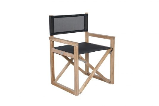 Picture of director's chair with black batyline sling from side