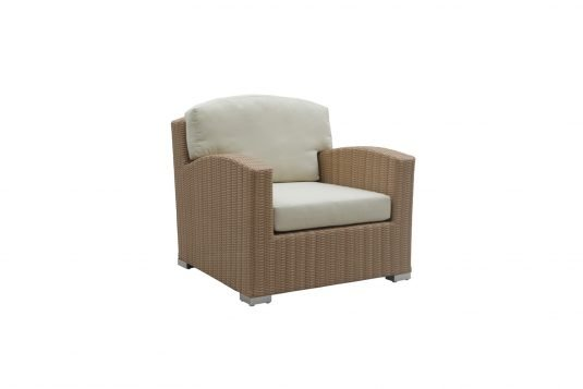 Picture of lounge chair with natural rattan finishing