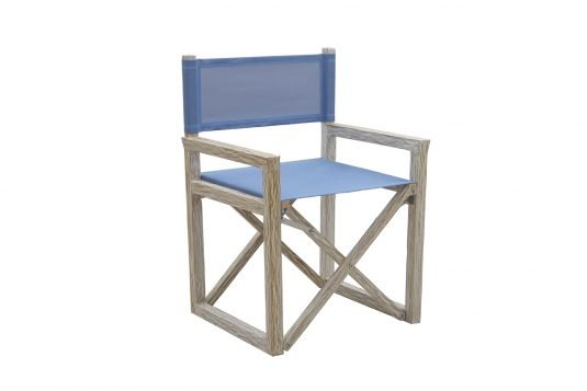 picture of director's chair with blue batyline sling from side