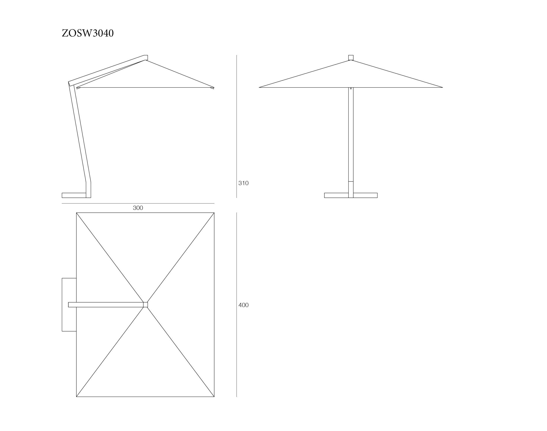 Rectangular Wooden Cantilever Parasol 300x400cm Parà Ombrelloni
