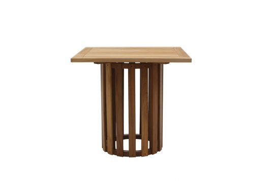 Picture of square single leg dining table from front